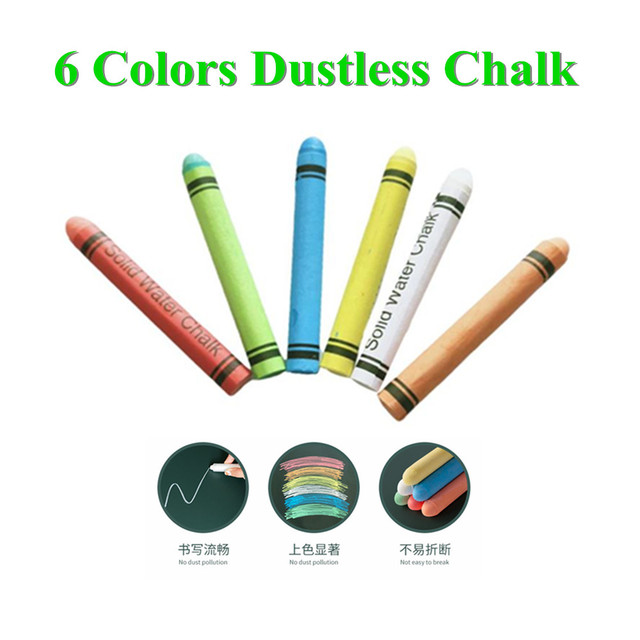 6pcs Teachers Use Water-soluble Dust-free Chalk Set Drawing Chalk Office School Education Supplies Accessories
