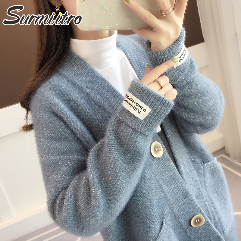 Surmiitro Knitted Jacket Women For Autumn Winter 2019 Ladies Korean Long Sleeve Cadigan Female Sweater Blue Red White Coat