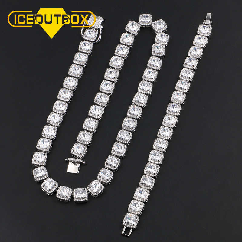 Big Crystal Men's 10mm Width1 Row Tennis Chain Necklace Bracelet AAA Zircon For Women Men's Hip Hop Luxury Jewelry Drop Shipping