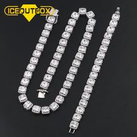 Big Crystal Men's 10mm Width1 Row Tennis Chain Necklace Bracelet AAA Zircon For Women Men's Hip Hop Luxury Jewelry Drop Shipping