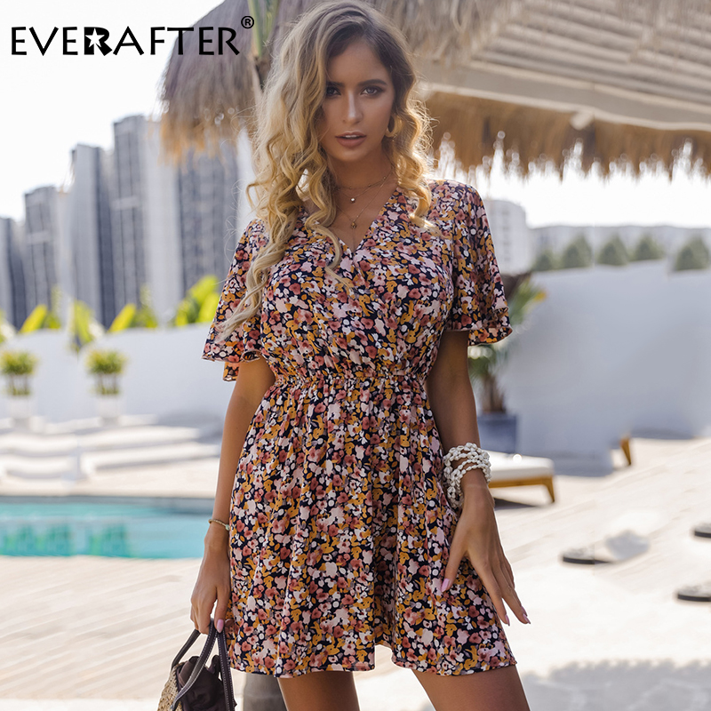 EVERAFTER Boho Floral Print Dress Women V-neck Short Sleeve High Waist Loose Summer Dresses Vintage Holiday Beach Lady Dress