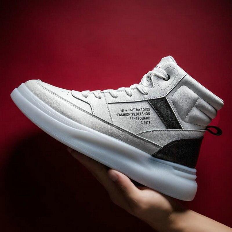 Мужские кроссовки дышащие белые туфли мужская кожаная обувь кроссовки Chaussure высокие кроссовки мужская повседневная обувь A54 44 на шнуров... - 2