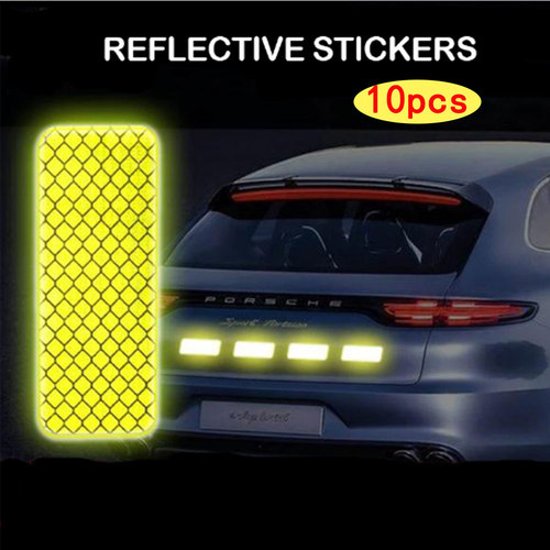 10 PCS Car Reflective Stickers For Motorcycles Electric Vehicles Bicycles Reflective Film Facilitates Scratches Shielding