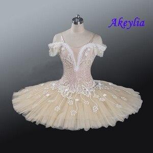Image 3 - Tutu pour le ballet professionnel pour adultes, crème beige, tutu à fleurs, poupée féerique, classique, costume de scène rouge