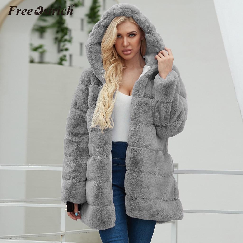 Free Ostrich Faux Fur Coat Women 2019 Autumn And Winter Coats Women Black Plus Size Plush Teddy Coat Warm Fur Jacket N30