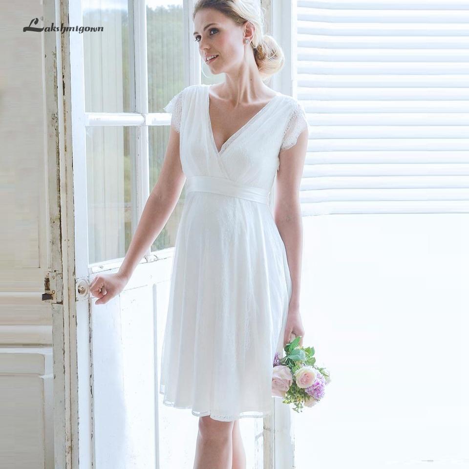 Lakshmigown Lace Short Wedding Dress Pregnant Vestido Curto 2019 Bridal Gown Detachable Sash Beach Wedding Dresses V Neck Cap