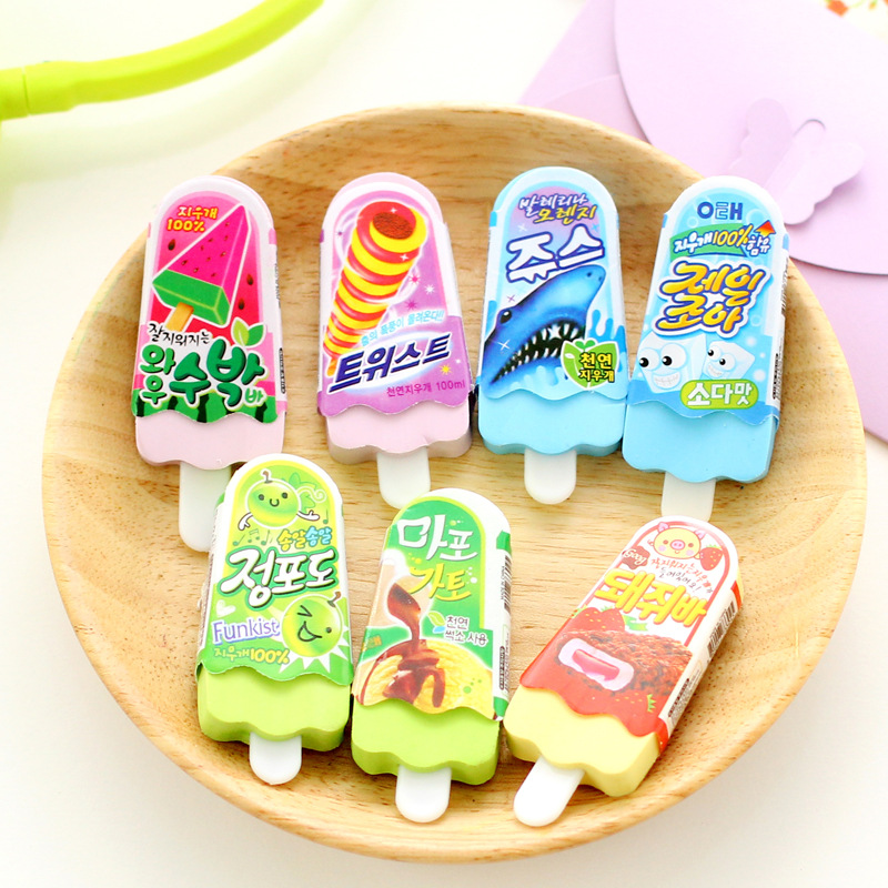 20 Pcs Creative Cartoon Ice Cream Eraser Cute Student Prize Stationery School Supplies Erasers For Kids