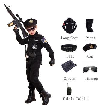 Dzieci Halloween policjant kostiumy Kids Party karnawał mundur policyjny 110-160cm chłopcy policjanci armii ubrania Cosplay zestawy tanie i dobre opinie CN (pochodzenie) Spodnie Other Unisex Poliester