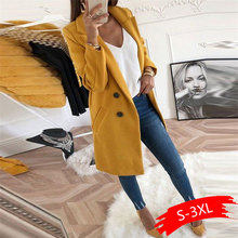 Women Blend Coat Autumn And Winter Turn-Down Collar Long Wool