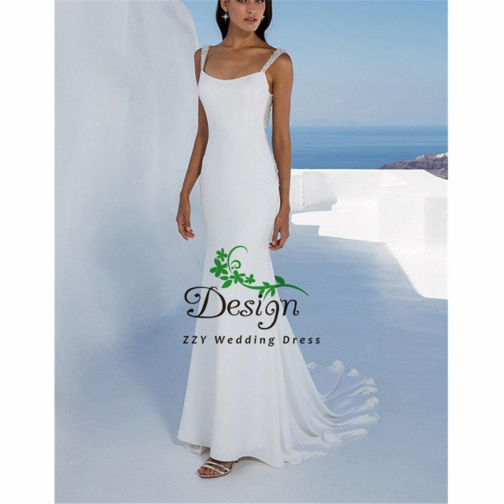 Dreamy White Chiffon Wedding Dresses Scoop Court Train Backless Dropped Sheath Spaghetti Straps Vestidos De Boda Dress Wedding