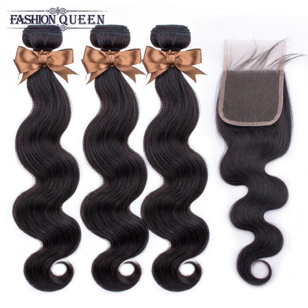Brazilian Hair Weave Bundles With Closure Body Wave Closure With Bundles Human Hair Bundles With Closure Non Remy Fashion Queen
