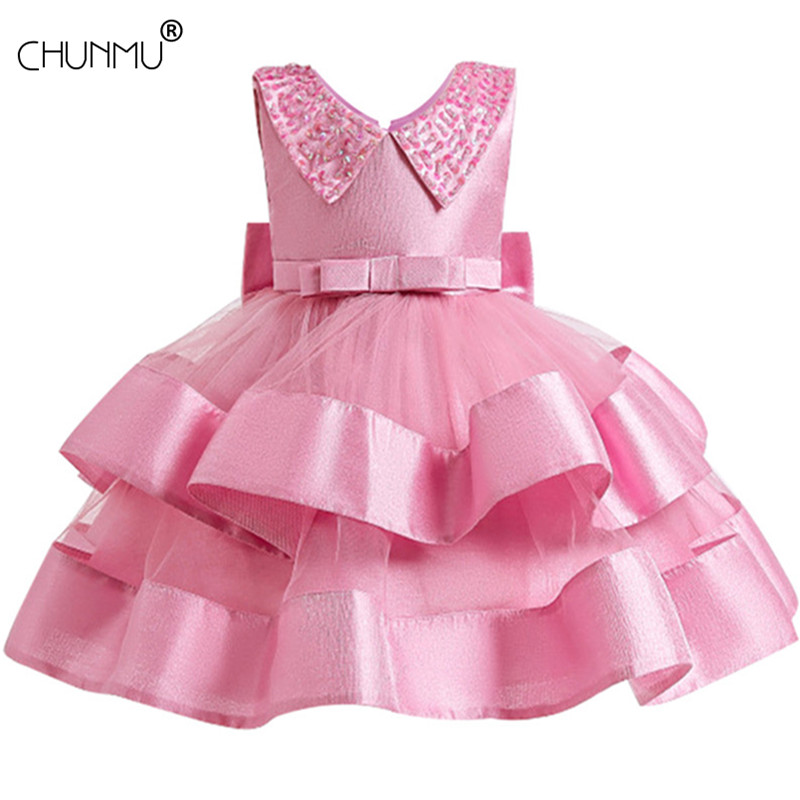 Kids Girls Dress Beads Flower Princess Formal Opening Ceremony Girl Dress Party Wedding Pageant Formal Sleeveless Lace Tulle