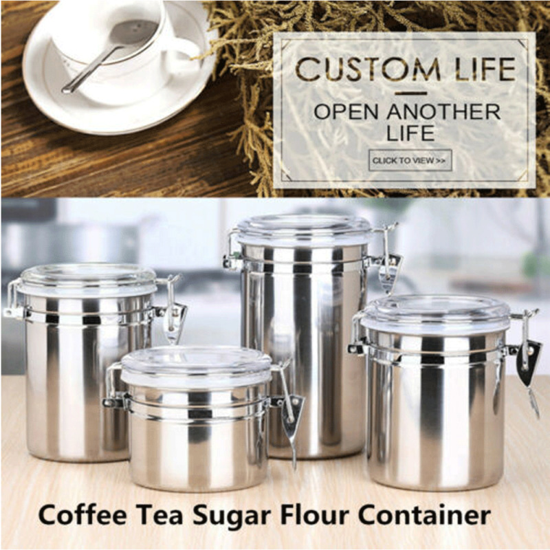 Stainless Steel Airtight Sealed Canister Coffee Flour Sugar Tea <font><b>Container</b></font> Holder image