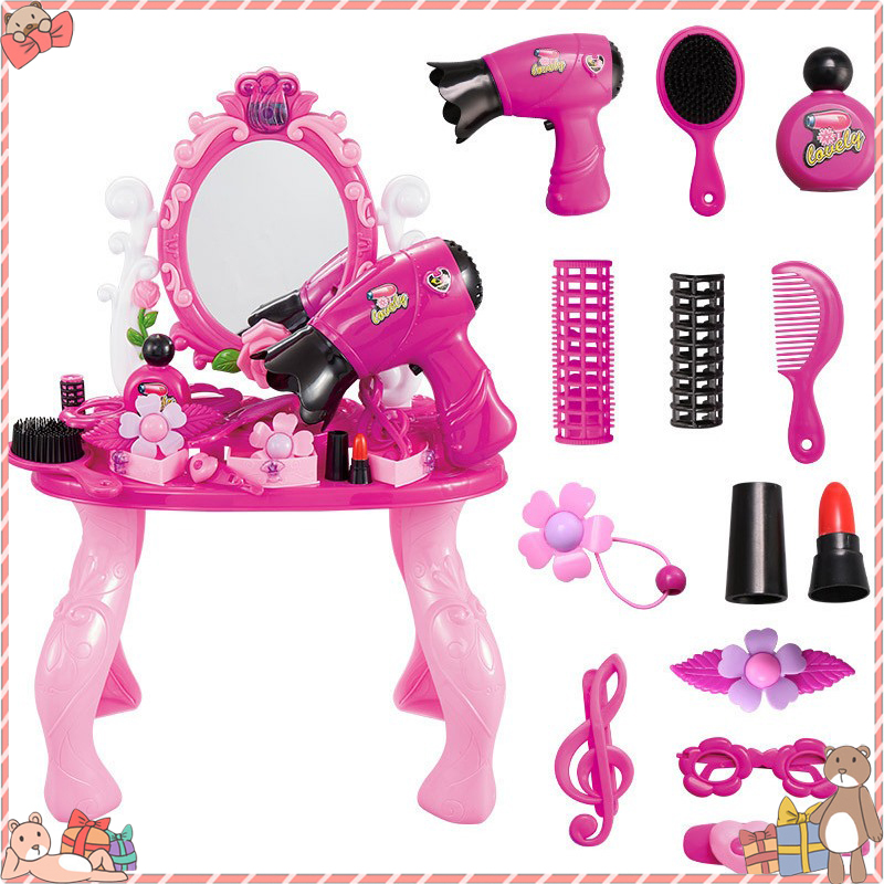 Girls Play House Princess Dressing Table Toy Pink Suit Girls Pink Vanity Table Dressing Mirror Make Up Desk Toy Play House Sets