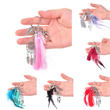 Handmade Natural Stone Keychain Dream Catcher Keyring Tassels Feather Keychain Women Silver Boho Jewelry Keychain Gift Fashion(China)