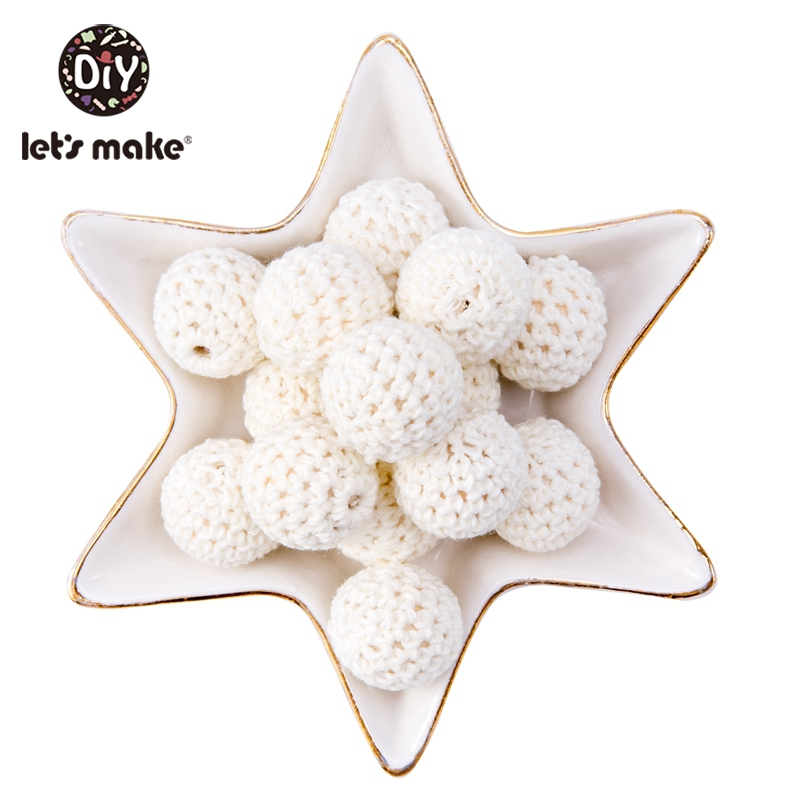 Let's Make 100Pcs Crochet Beaded Wood Teether 16mm Round Baby Wooden Teether Crochet Toys Braided Teething Beads Baby Oral Care