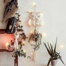Nordic creative owl woven net pocket tapestry living room pendant background wall hanging gardening flower pot basket