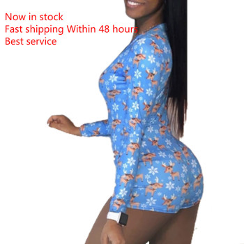 Women Sexy Pyjamas Deep V-neck Long Sleeve  V-Neck Floral Print Bodycon Sleepwear Jumpsuit Romper Underwear Sleepwear Playsuit