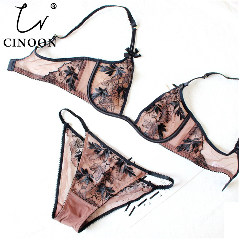 CINOON Ultra-thin underwear   set   Deep U plunge   bra     set   Push up bralette Embroidery Sexy Women's Lace intimate lingerie