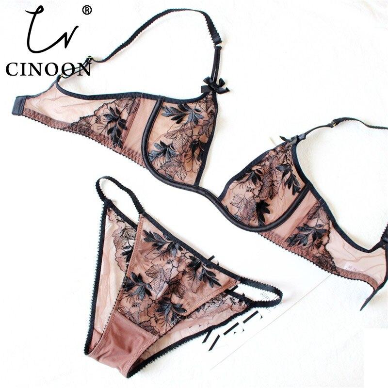 CINOON Ultra-thin underwear   set   Deep U plunge   bra     set   Push up bralette Embroidery Sexy Women's Lace intimate lingerie