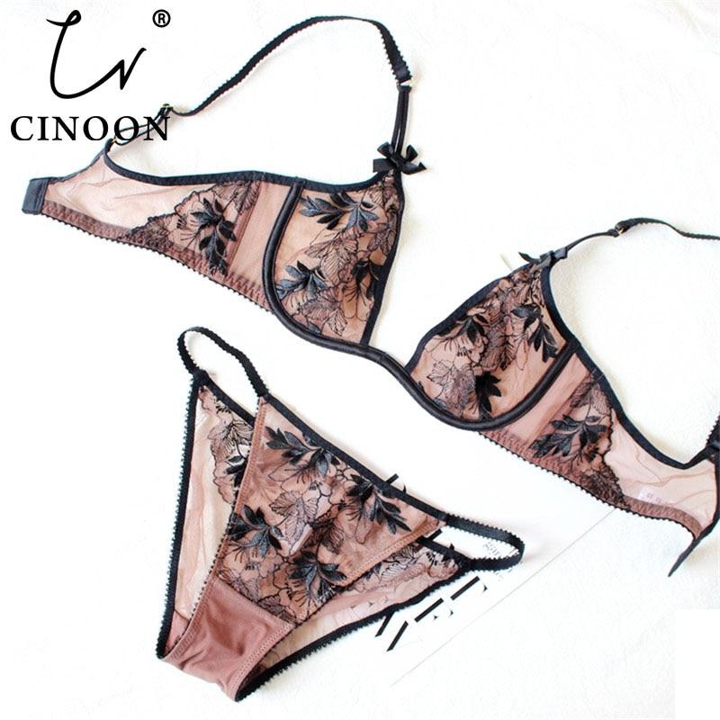 Комплект нижнего белья CINOON, ультратонкое нижнее белье с глубоким u-вырезом, бюстгальтер с пуш-апом и вышивкой, сексуальное женское кружевное нижнее белье