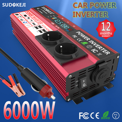 Power Inverter 6000W 4000W Peak Power DC 12V To AC 110V 120V 220V 230V Car RV Boat Welding Power Inverter LCD Display USB