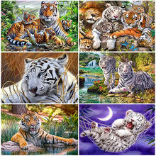 Diy tiger 5d diamond painting full round resin animal embroidery