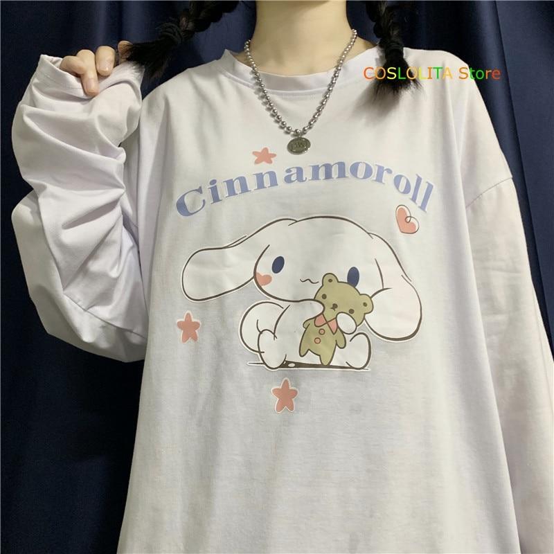 Spring Autumn Japanese New Women Long sleeve T-shirt Cinnamoroll Cartoon Print Pullover Loose Wild Student Soft sister Tops 1