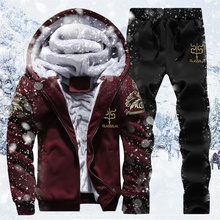 Inverno quente agasalho masculino conjunto casual jaqueta terno masculino roupas de marca dos homens sweats terno duas peças zíper moletom dropshipping