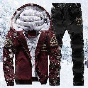Image 1 - Zimowy ciepły dres zestaw dla mężczyzn casualowa kurtka garnitur męska marka odzież męska bluzy garnitur dwa kawałki bluza z zamkiem Dropshipping
