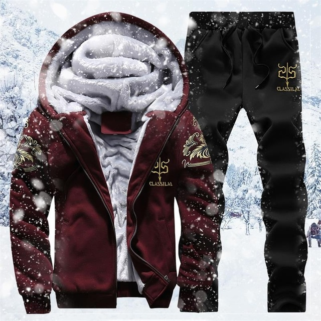 Zimowy ciepły dres zestaw dla mężczyzn casualowa kurtka garnitur męska marka odzież męska bluzy garnitur dwa kawałki bluza z zamkiem Dropshipping