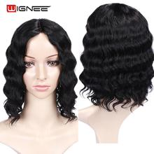 Wignee Remy Brazilian Loose Deep Wave Human Hair Wigs Natural Black Affordable Design For African American