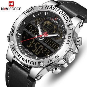 NAVIFORCE 9164 Waterproof Sport Quartz Watches Men fashion Business Watch LED Double display