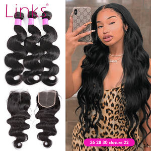 Links Hair-Extension Lace-Frontal Body-Wave 4-Bundles 30inch Brazilian Closure with Natural