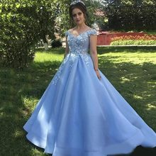 Fengyudress Light Blue Off Shoulder A-line Quinceanera Dresses Appliques 3D Flowers Sleeveless Pleated Sweet 16 Prom Gowns(China)