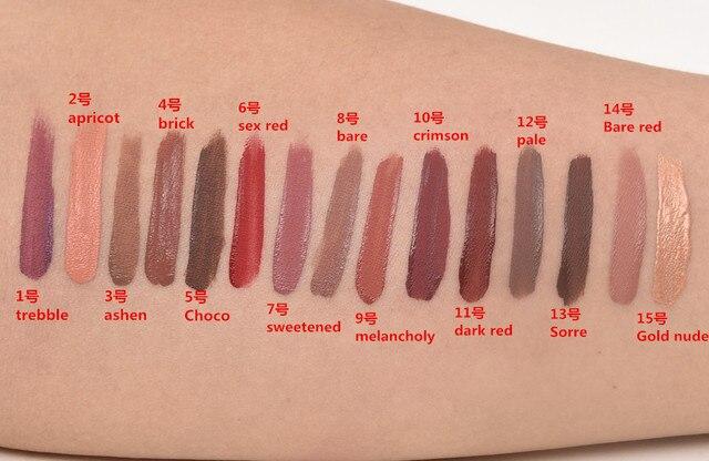 New Brand Makeup Lipstick Matte Lipstick Brown Nude Chocolate Color Liquid Lipstick quality Lip Gloss Matte Batom nyxd Lip Tint 3