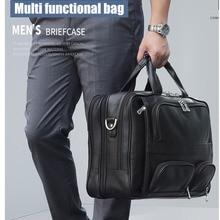 Top Cow Leather Men Briefcases Business 17.3″ Handbag Male Super Large Capacity Travel Laptop Bag Maleta Bolso Hombre Sac Homme