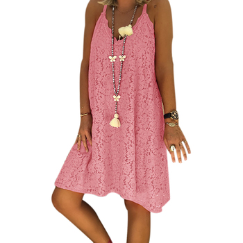 WENYUJH Plus Size Women Lace Strappy Dress 2020 New Arrival Ladies Summer Casual Loose Beach Sundress Female Fashion