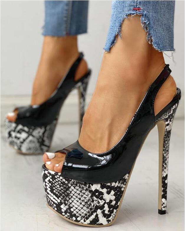 2020 NEW 16CM Platform High Heels Sandals Summer Sexy Ankle Strap Open Toe Gladiator Party Dress Women Shoes Zapatos De Mujer