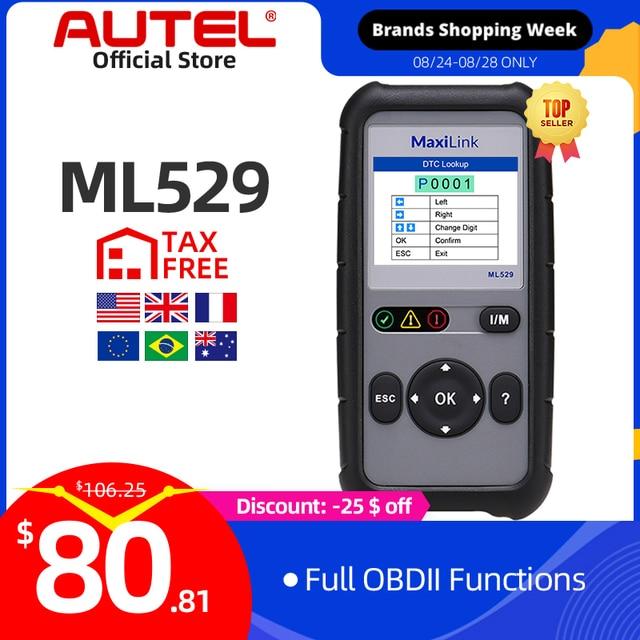 AUTEL MaxiLink ML529 Scanner Auto OBDII Mode 6 OBD2 Car Diagnostic Tool eobd Built in DTC Lookup Speaker Clear Code Reader AL519