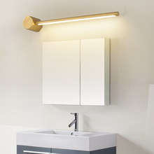 Bathroom Waterproof Led Mirror Light Modern Golden Long Strip Vanity Table Mirror with Lights for Home Bedroom Copper Wall Lamp