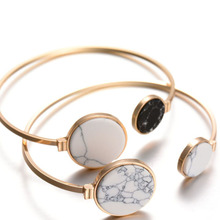 Fashion Gold Plate Black White Geometric Round Open Cuff Punk Bracelet Bangle Faux Marble Stone