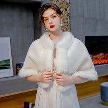 Winter Warme Shrugs Für Frau Faux Pelzcape Weiß Partei Stolen Hochzeit Pelz Bolero Braut Pelz Wraps Brautjungfern Cape veste femme