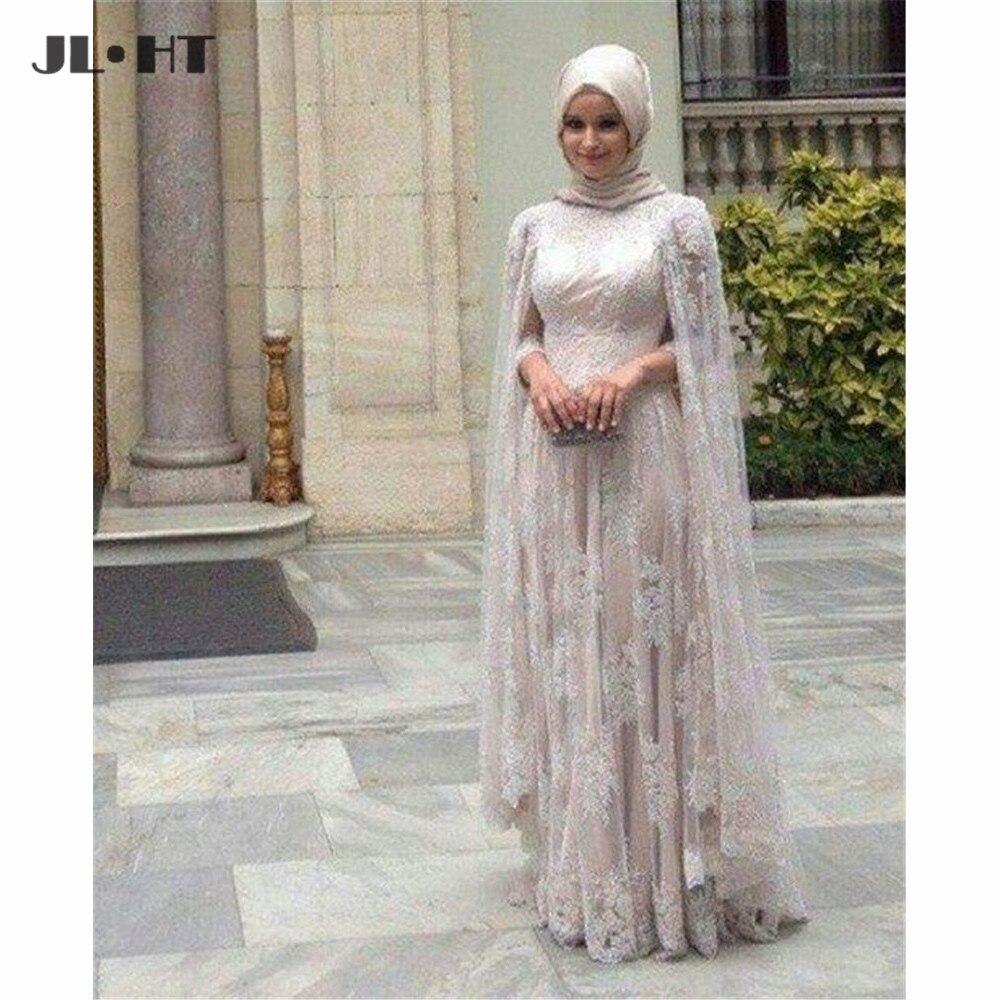 Muslimischen Arabischen Abendkleider mit Hijab Spitze Lange Abendkleid Licht Champagne Tüll Prom Kleid Mit Langen Ärmeln Abendkleider