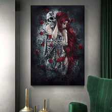 Abstract Skull Girl Canvas Art Posters and Prints Dark Rose Flowers for Living Room Decoration Home Decor Paintings for Interior