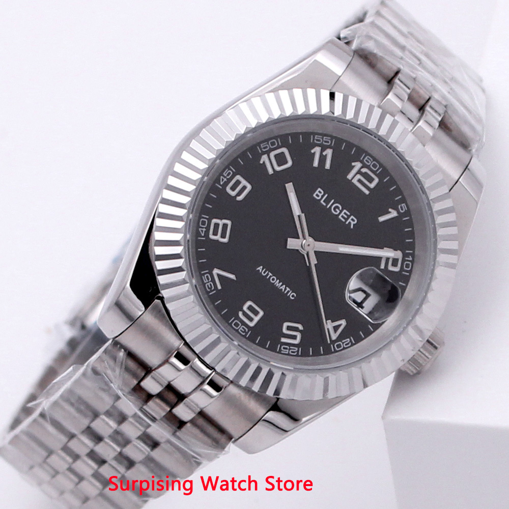 Bliger 40mm Automatic Mechanical Men Watch Business Luxury Brand Luminous Waterproof Sapphire Glass Calendar Wristwatch Men