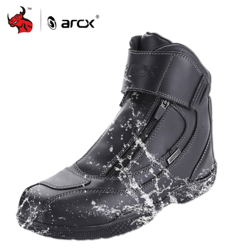 ARCX Motorcycle Boots Genuine Cow Leather Waterproof Moto Boots Motorbike Riding Shoes Motocross Off-Road Racing Boots #