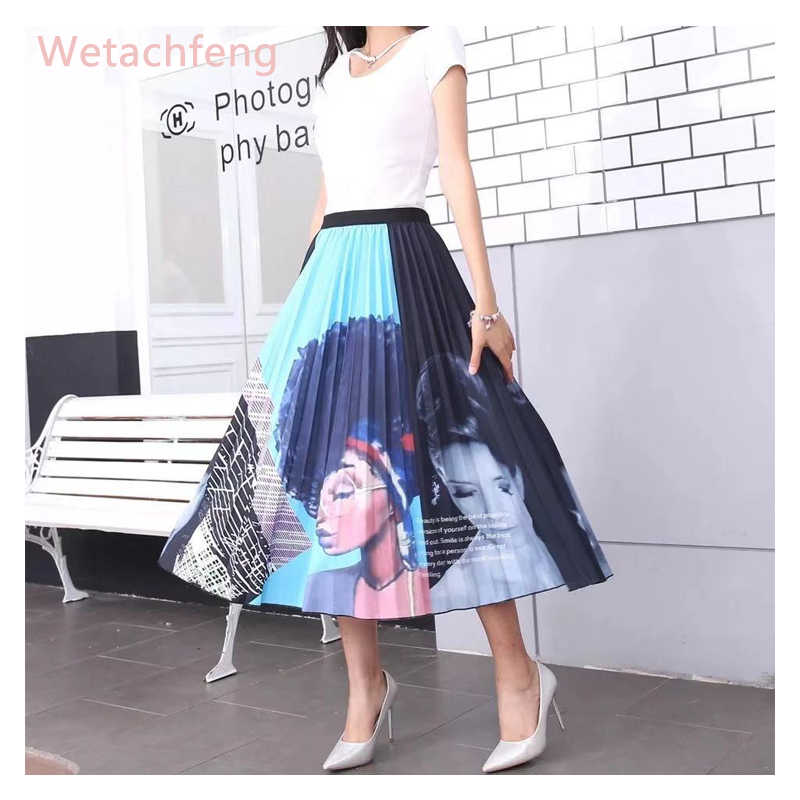 2020 jupe africaine rose jupe Midi imprimé dessin animé jupe plissée taille haute gothique Sexy filles jupes Ropa Mujer vêtements pour femmes