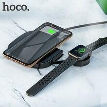 HOCO 2in1 تشى اللاسلكية وسادة الشاحن آيفون 8 X XS ماكس XR ل أبل ساعة 4 3 2 1 10 واط سريع لاسلكي كابل شحن لهواتف سامسونج S10 S9