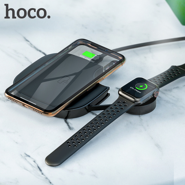 HOCO 2in1 Qi Wireless Charger Pad for iPhone 8 X XS Max XR for Apple Watch 4 3 2 1 10W Fast Wireless charging For Samsung S10 S9